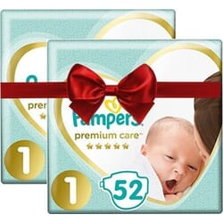 Pampers Premium Care Νo 1 (2-5kg) 2x52τμχ