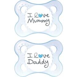Mam I Love Mummy & Daddy Σιλικόνης Σιέλ 0m+ 2τμχ