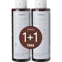 Korres Σαμπουάν για Λεπτά/Αδύναμα Μαλλιά με Πρωτεΐνες Ρυζιού & Τίλιο 2x250ml