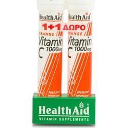 Health Aid Vitamin C 1000mg 2 x 20 αναβράζοντα δισκία Πορτοκάλι